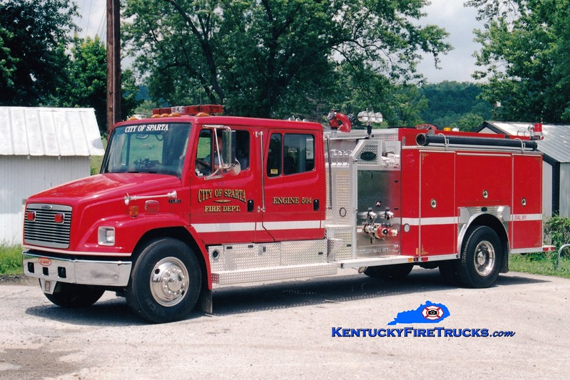 <center> NO LONGER IN SERVICE <br> Sparta  Engine 504 <br> 2001 Freightliner FL80/E-One 1250/1000 <br> Greg Stapleton photo </center>