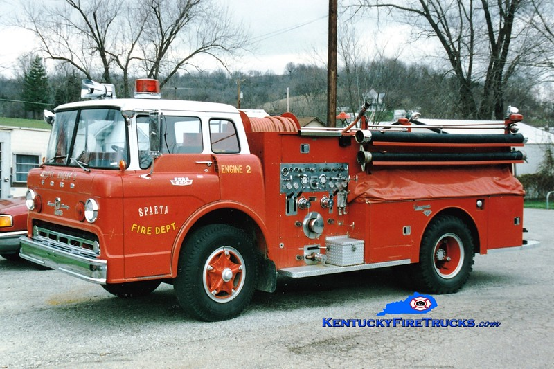 <center> NO LONGER IN SERVICE <br> Sparta  Engine 2 <br> x-Taylor Mill, KY <br> 1967 Ford F-950/Seagrave-Timpco 750/750 <br> Greg Stapleton photo </center>