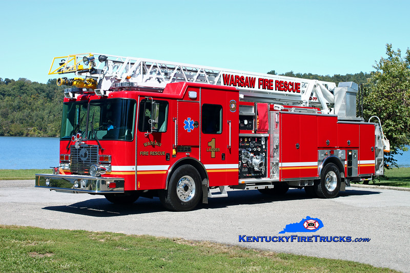 <center> Warsaw  Ladder 1 <br> 2010 HME/Ferrara Intruder 2 1500/400/30/77'  <br> Kent Parrish photo </center>