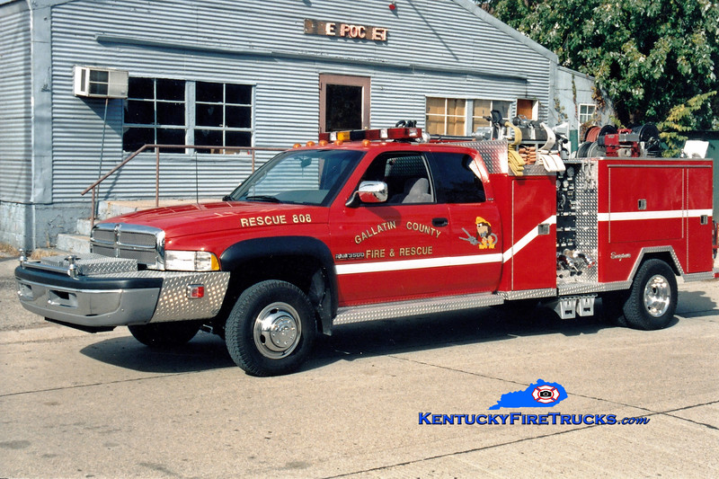 <center> Gallatin County  Rescue 808 <br> Refurb of x-Engine 804 <br> 1997 Dodge 3500 4x4/RPI/1979 Seagrave 400/250   <br> Greg Stapleton photo </center>