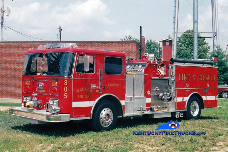 <center> Warsaw  Engine 805 <br> 1991 Seagrave JB 1250/750  <br> Greg Stapleton photo </center>