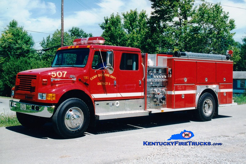 <center> Camp Dick  Engine 507 <br> 1996 International 4900/E-One 1250/1000 <br> Greg Stapleton photo </center>