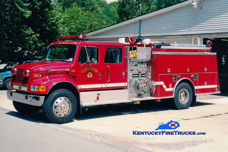 <center> Camp Dick  Engine 503 <br> 2001 International 4900/KME 1250/1000 <br> Greg Stapleton photo </center>