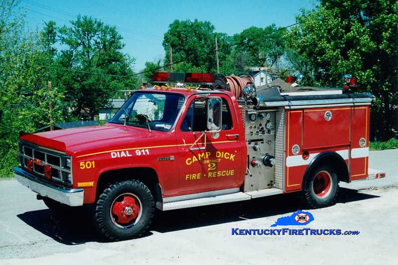 <center> RETIRED <br> Camp Dick  Engine 501 <br> x-Lancaster, PA <br> 1983 GMC/4 Guys 450/200 <br> Greg Stapleton photo </center>
