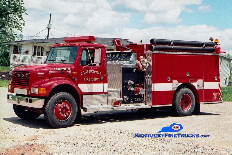 <center> Cartersville  Engine 8 <br> 2000 International 4900/E-One 1250/1000 <br> Greg Stapleton photo </center>