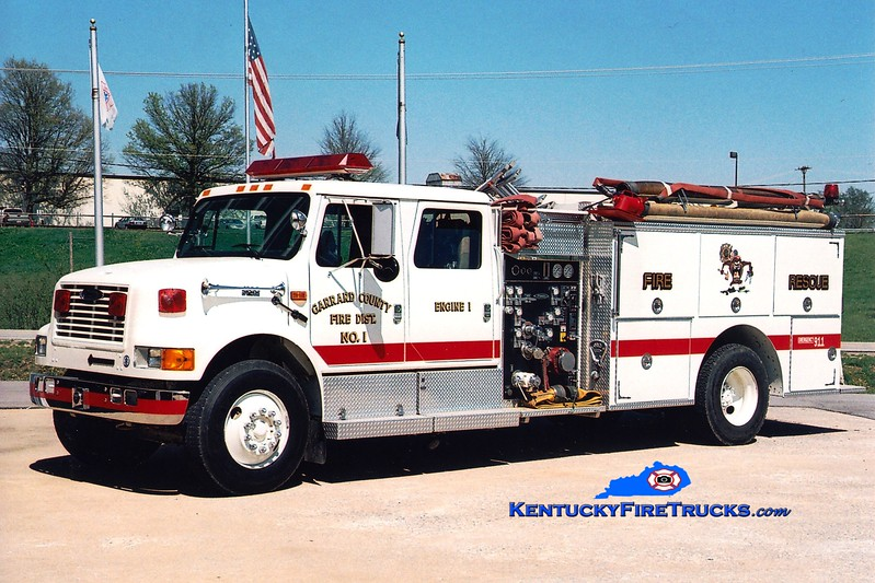 <center> Garrard County Fire Dist. 1  Engine 3 <br> X-Engine 1 <br> 1994 International 4900/Pierce 1000/1000 <br> Greg Stapleton photo <br> </center>