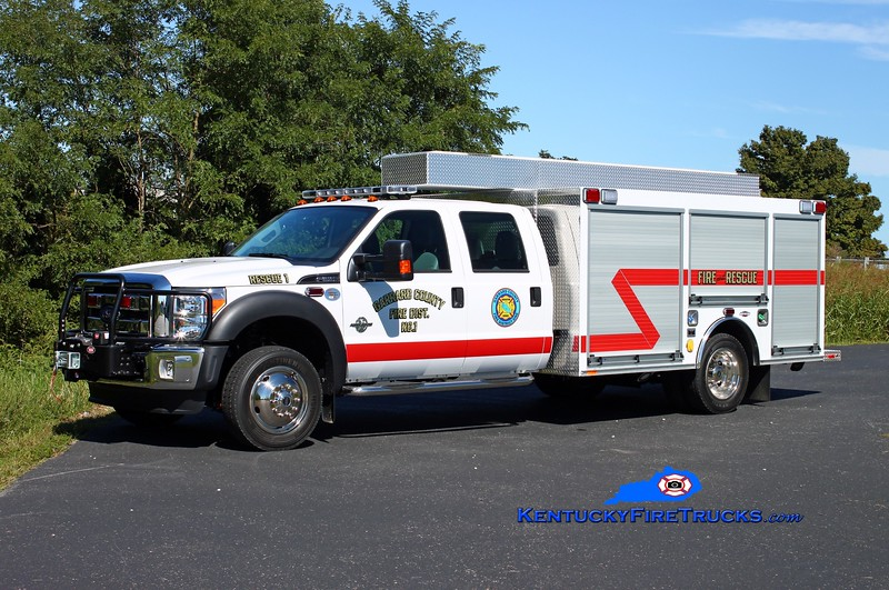 <center> Garrard County Fire Dist. 1  Rescue 1 <br> 2014 Ford F-550 4x4/Southeast  Rescue/City Service Truck <br> Kent Parrish photo <br> </center>