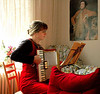 Girl with accordion<br /> Berlin<br /> <br /> P154