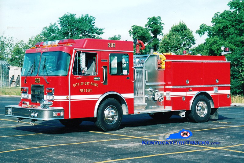 <center> Dry Ridge Engine 303 <br> 1995 Spartan/Ferrara Invader 1250/1000 <br> Greg Stapleton photo </center>
