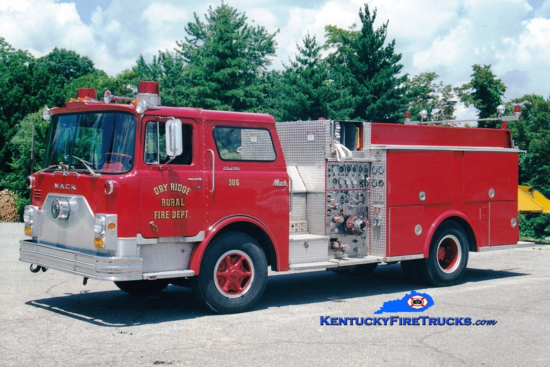 <center> RETIRED <br> Dry Ridge Rural  Engine 306 <br> x-Butler Twp, OH <br> 1972 Mack CF/1990 Allegheny 1250/750 <br> Greg Stapleton photo </center>