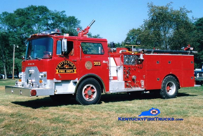 <center> RETIRED <br> Crittenden  Engine 203 <br> x-FDNY; Southern Campbell, KY <br> 1971 Mack CF/1982 Summit 1000/600 <br> Greg Stapleton photo </center>