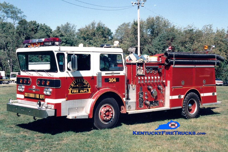 <center> RETIRED <br> Crittenden  Engine 204 <br> x-Taylor Mill, KY <br> 1977 American LaFrance Pioneer III 1250/750 <br> Greg Stapleton photo </center>