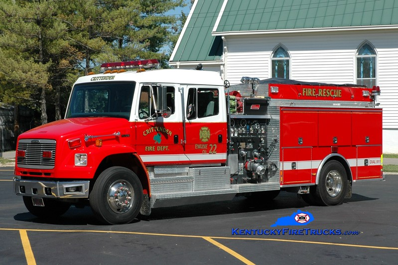 <center> Crittenden  Engine 22 <br> 1998 Freightliner FL80/New Lexington 1500/1000 <br> Greg Stapleton photo </center>