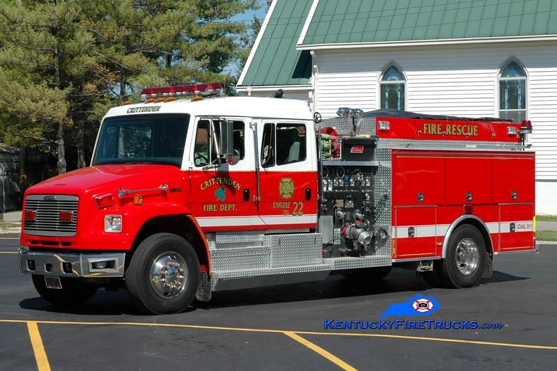 <center> Crittenden  Engine 22 <br> x-Engine 202 <br> 1998 Freightliner FL80/New Lexington 1500/1000 <br> Greg Stapleton photo </center>