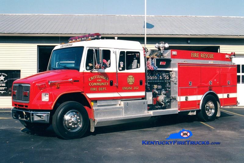 <center> REASSIGNED <br> Crittenden  Engine 202 <br> 1998 Freightliner FL80/New Lexington 1500/1000 <br> Greg Stapleton photo </center>