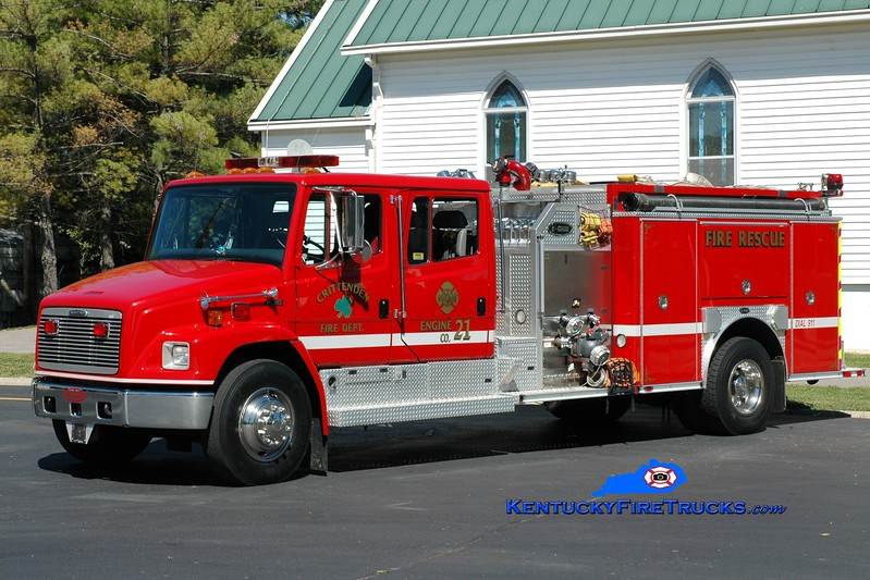 <center> Crittenden  Engine 21 <br> x-Sparta, KY <br> 2001 Freightliner FL80/E-One 1250/1000 <br> Greg Stapleton photo </center>