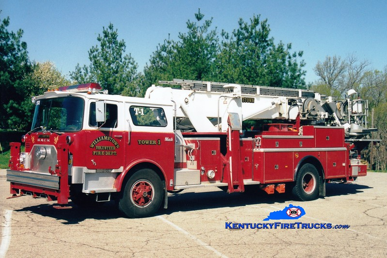 <center> Williamstown  Tower 51 <br> x-FDNY; Stafford County, VA <br> 1973 Mack CF/Baker 75' Aerialscope  <br> Greg Stapleton photo </center>