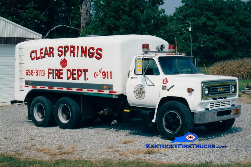 <center> RETIRED <br> Clear Springs  Tanker 8 <br> 1975 Chevy C65/Starr 0/3500<br> Greg Stapleton photo <br> </center>