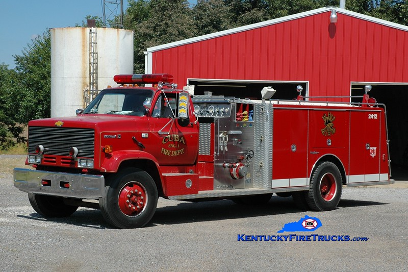 <center> Cuba  Engine 1 <br> x-Lancaster, WI <br> 1985 Chevy Kodiak/General Safety/1998 Custom Fire 1250/1000<br> Greg Stapleton photo <br> </center>