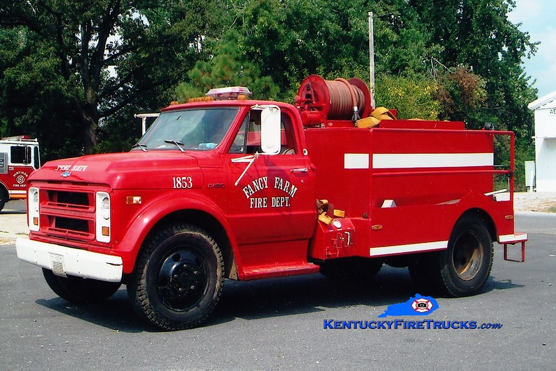 <center> RETIRED <br> Fancy Farm  Tanker 1853  <br> 1969 Chevy/Local 250/1200 <br> Greg Stapleton photo </center>