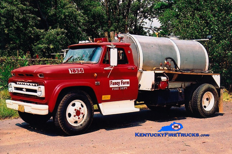 <center> Fancy Farm  Tanker 1856  <br> 1966 Chevy Kodiak/Local 250/1200 <br> Greg Stapleton photo </center>