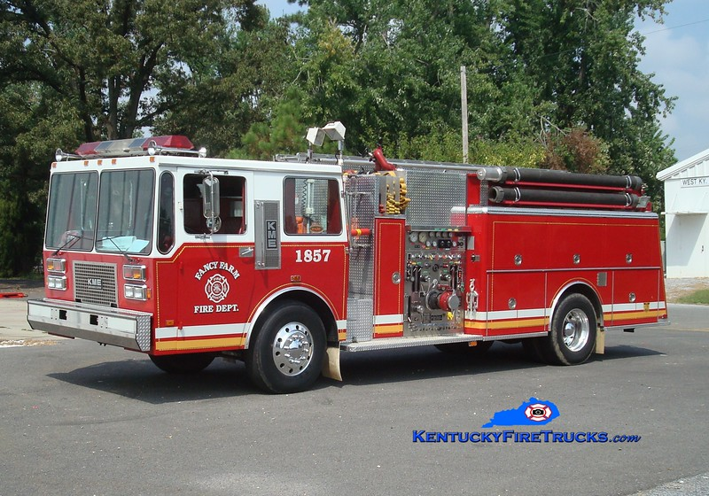 <center> Fancy Farm  Engine 1857  <br> x-Coaldale, PA <br> 1988 KME 1500/500/Quad <br> Greg Stapleton photo </center>