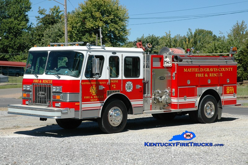 <center> Mayfield-Graves County Engine 2 <br> x-Forsyth County, GA <br> 1991 E-One Protector 1250/750 <br> Greg Stapleton photo <br> </center>
