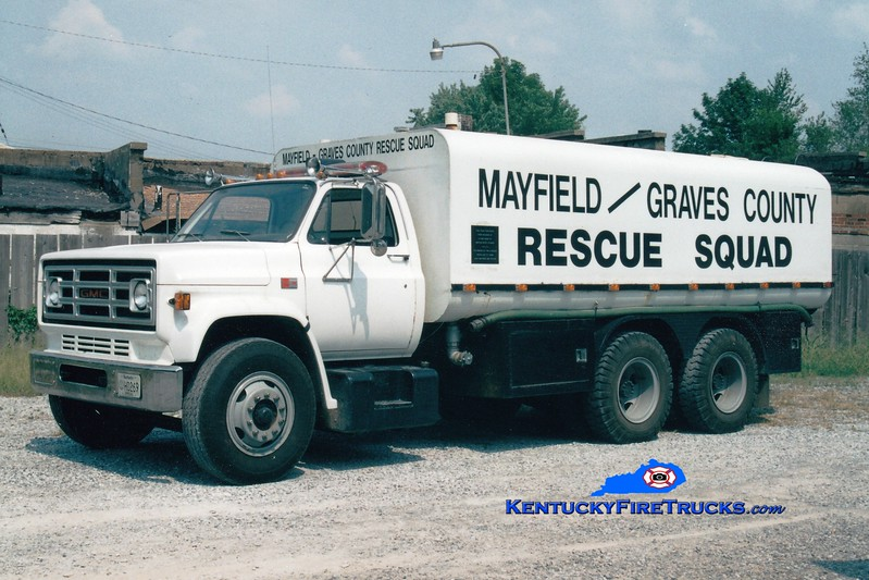 <center> RETIRED <br> Mayfield-Graves County Tanker 5 <br> 1987 GMC/Local 0/5000 <br> Greg Stapleton photo <br> </center>