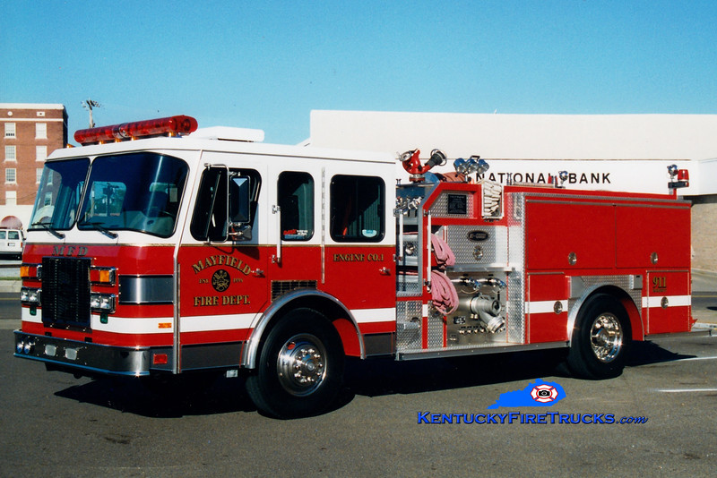 <center> Mayfield  Engine 3 <br> x-Engine 1 <br> 1992 E-One Protector TC 1250/500 <br> Greg Stapleton photo <br> </center>
