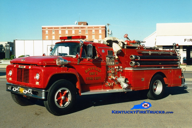 <center> RETIRED <br> Mayfield  Engine 5 <br> 1962 Ford F/Howe 750/500 <br> Greg Stapleton photo <br> </center>