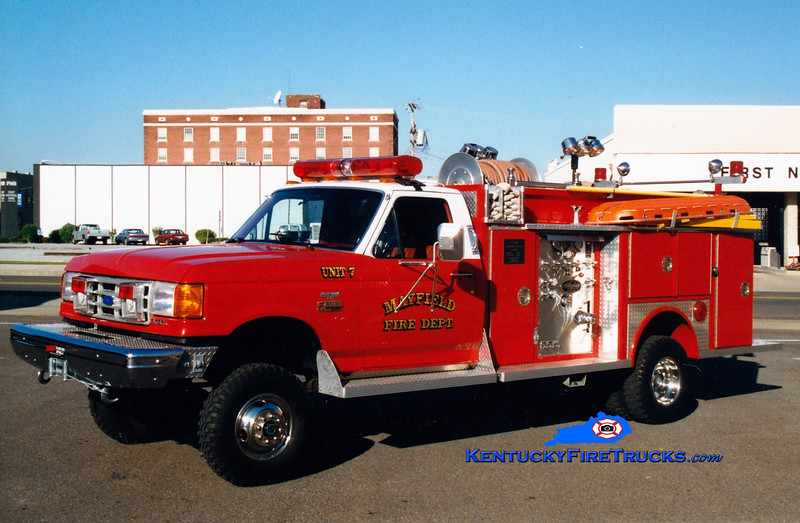 <center> RETIRED <br> Mayfield  Rescue 7 <br> 1990 Ford F-350 4x4/Allegheny 250/250 <br> Greg Stapleton photo <br> </center>
