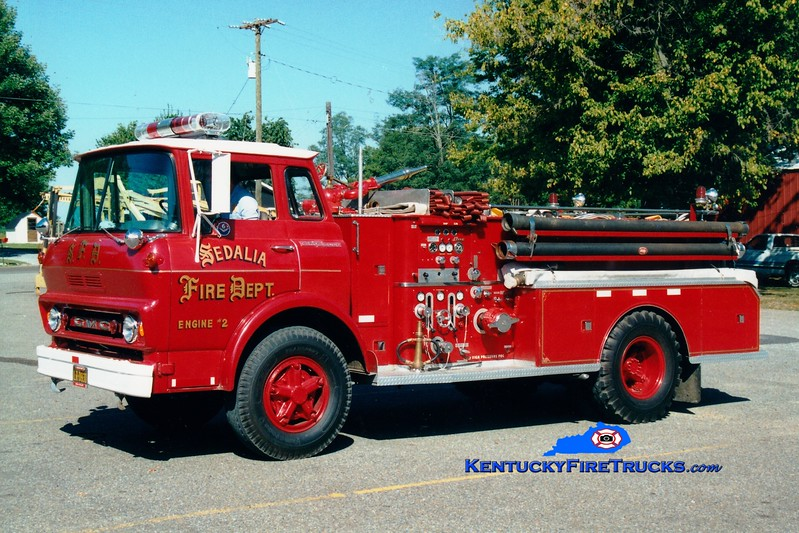 <center> RETIRED <br> Sedalia  Engine 2 <br> 1963 GMC/Bean 750/500 <br> Greg Stapleton photo <br> </center>