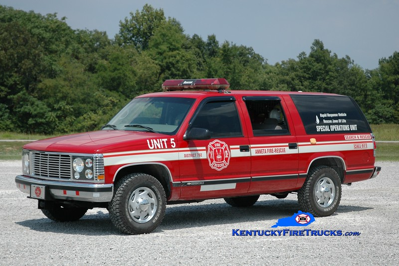 <center> RETIRED <br> Anneta  Unit 5 <br> 1985 Chevy Suburban 4x4 <br> Greg Stapleton photo </center>