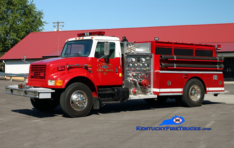 <center> Clarkson  Engine 93  <br> 1997 International 4900/Bluegrass 1000/750 <br> Kent Parrish photo </center>