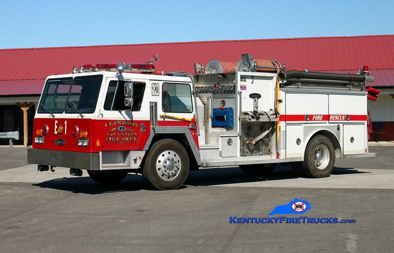 <center> Clarkson  Engine 91  <br> x-Canon City, CO <br> 1982 Pemfab/E-One 1250/1000 <br> Kent Parrish photo </center>