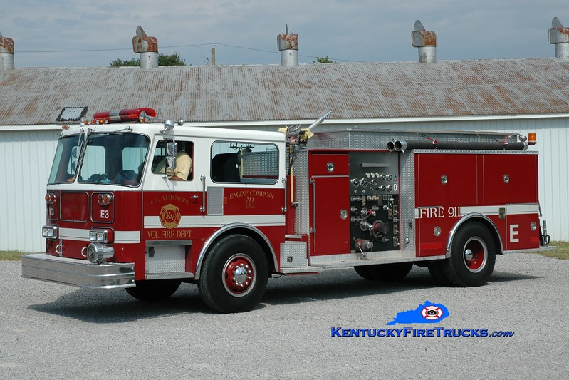 <center> RETIRED <br> Clarkson  Engine 92 <br> 1981 Seagrave/1982 Pierce/1994 refurb 1500/1000 <br> Seagrave chassis x-Palatine, IL; Pierce body x- Bridgewater, NJ; & Stephensburg, KY <br> Greg Stapleton photo </center>