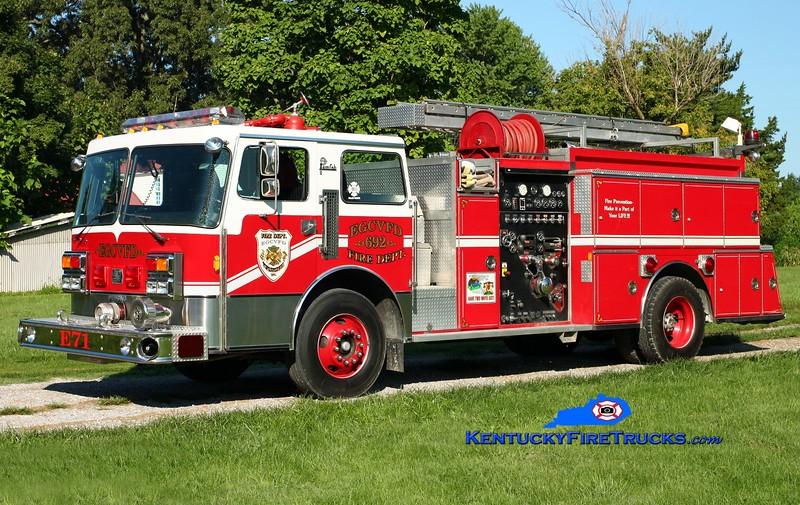 <center> East Grayson  Engine 71 <br> x-Okolona, KY & Central Hardin, KY <br> 1986 Pemfab/American Eagle/1978 Ward LaFrance 79 Oshkosh/Pierce 1250/500 <br> Kent Parrish photo </center>
