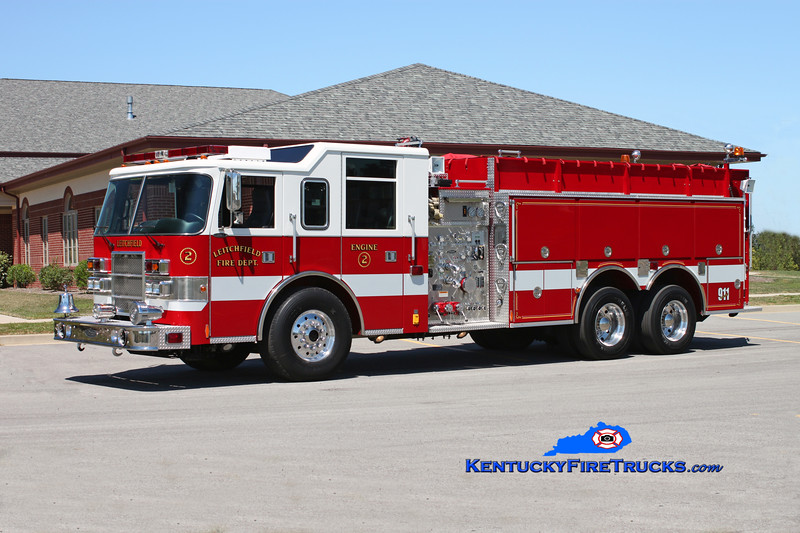 <center> Leitchfield  Engine 2 <br> 1999 Pierce Dash 1500/2000 <br> Kent Parrish photo </center>