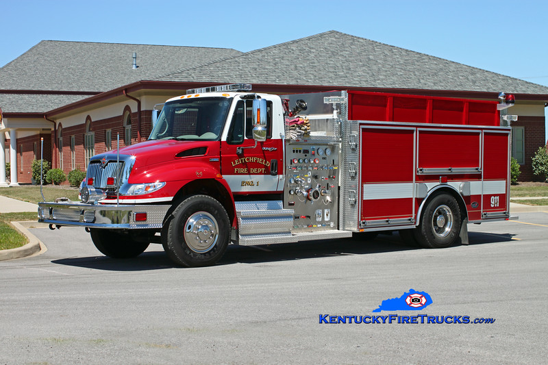 <center> Leitchfield  Engine 1 <br> 2009 International 4400/Bluegrass 1250/1500/30 <br> Kent Parrish photo </center>