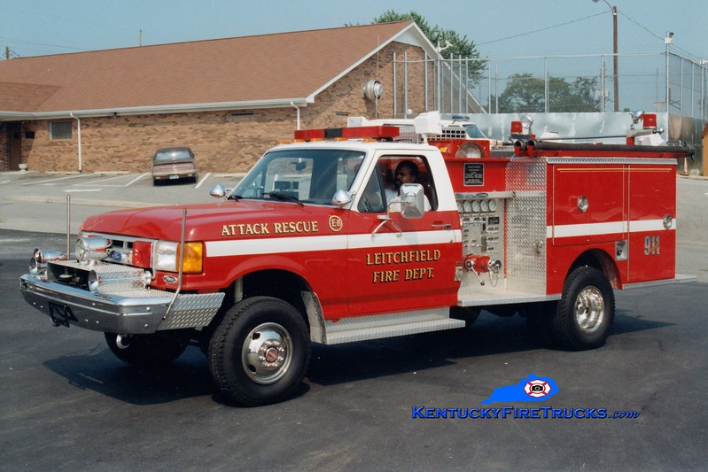 <center> RETIRED <br> Leitchfield  Attack 8 <br> 1992 Ford F-SD 4x4/Pierce 400/250 <br> Greg Stapleton photo </center>