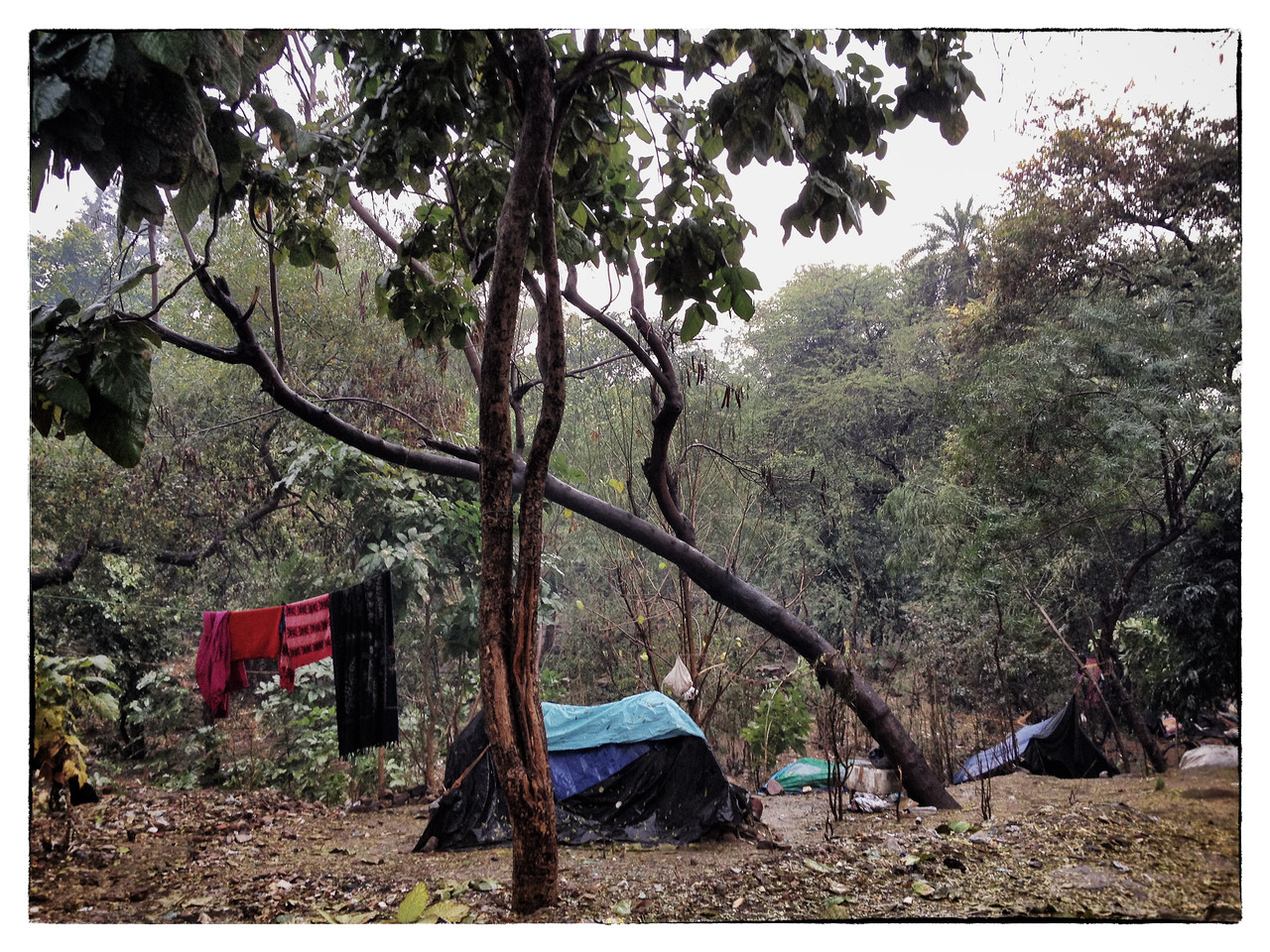 Delhi, India, Feb 2013 -    A makeshift slum seen during a rainfall in south delhi an area where top 5 star hotels - The Lodhi  and The Oberoi Hotels are located.   Images for the Global Post's special report -   The Great Divide:  Global income inequality and its cost    Photograph:  Sami SIVA