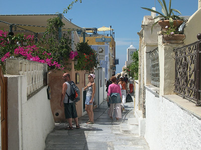 The narrow streets of Oia with shops, galleries, restaurants, hotels and apartments.