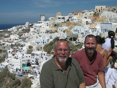 Oia, Santorini. Ed (left) and Joe (right) taking a break.