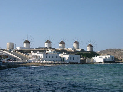 Mykonos. The famous windmills on the hill at the mouth of the harbor to Mykonos Town have long been a symbol of the island.