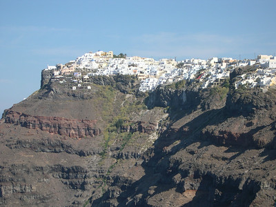 Santorini. The town of Firastephanie, perched high on the edge of the volcano caldera on the island of Santorini. Santorini is the southern most island of the Cyclades.