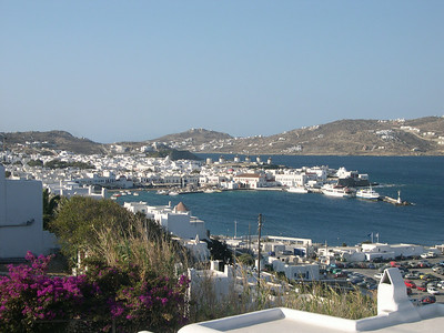The main port of Mykonos Town on the island of Mykonos. This is part of the Upper Cyclades in the Greek Islands.