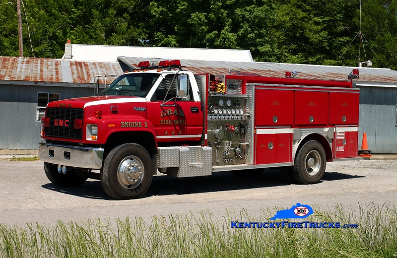 <center> Grab  Engine 1 <br> x-Glasgow, KY <br> 1992 GMC Topkick/E-One 1250/1000 <br> Kent Parrish photo </center>