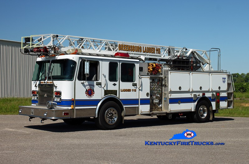 <center> Greensburg  Ladder 115 <br> x-Point Pleasant, KY <br> 1993 Spartan Gladiator/Ferrara/RK 1500/500/60' <br> Kent Parrish photo </center>