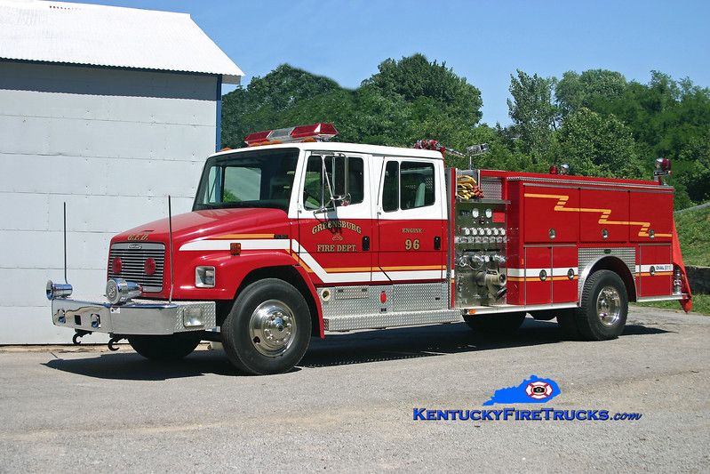 <center> RETIRED <br> Greensburg  Engine 96 <br> 1996 Freightliner FL80/E-One 1250/1000 <br> Kent Parrish photo </center>