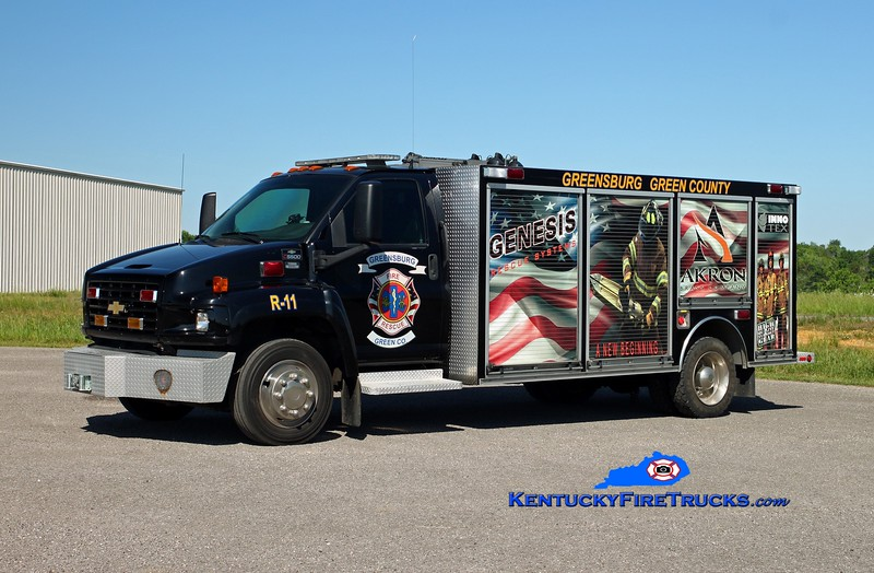 <center> Greensburg-Green County  Rescue 11 <br> 2003 Chevy C5500/Supreme/Wynn <br> Kent Parrish photo </center>